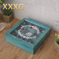 XXXG / /solid wood do old jewelry receive cassette of restoring ancient ways glass box nine lattice grid living flowers and