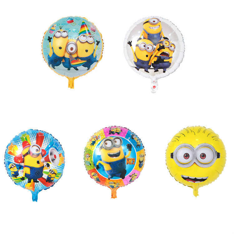 KUWANLE 1pcs 18inch Minions Balloons Despicable Me 3 Foil Helium Balloon For Kids Toys Birthday Party Supplies Decoration Globos