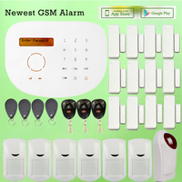 English Word Menu LCD Display Wired Wireless GSM Alarma Casas With 6 PIR Motion Sensor And