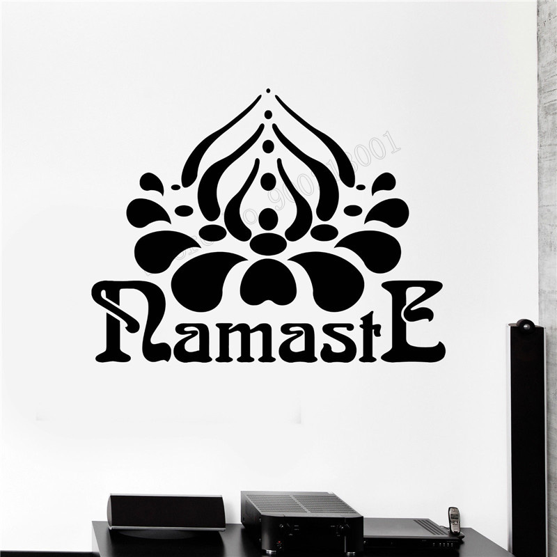 Art Wall Sticker Vinyl Art Removeable Wall Decoration Namaste Hinduism Decor Yoga Hindu India Room Poster Mural LY218 in Wall Stickers from Home Garden