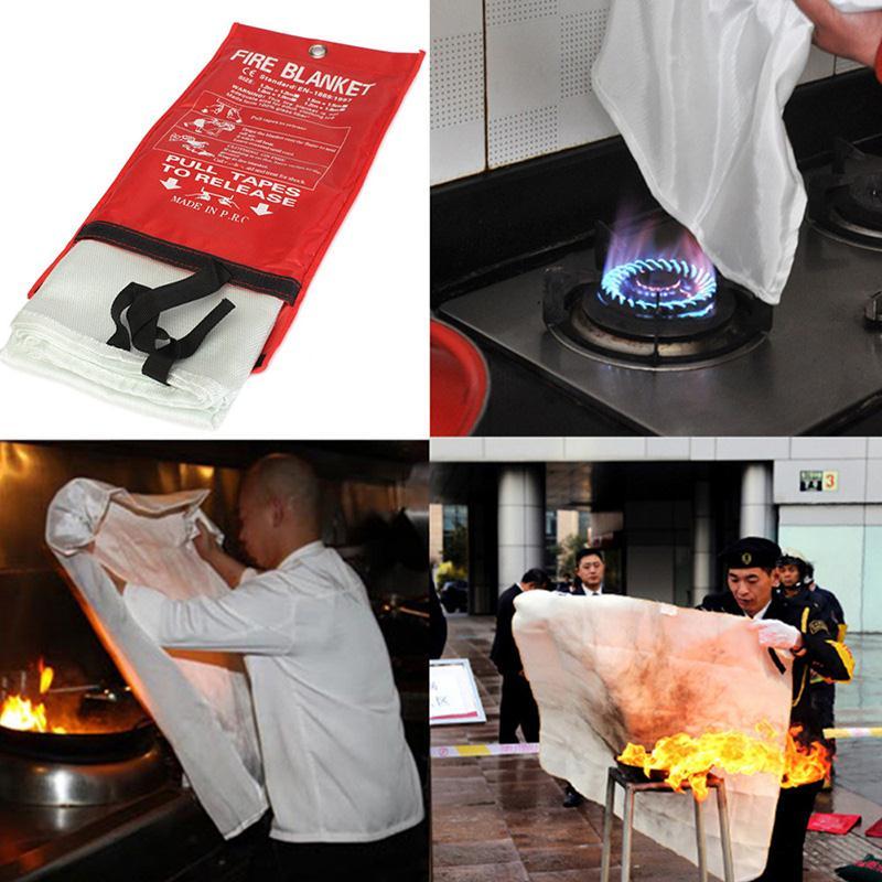 1PCS Fire Blanket Fiberglass 1.5M X 1.5M Flame Retardant Emergency Survival Fire Shelter Safety Cover Emergency Blanket