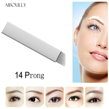 200 PCS 14 flex Agulha Tebori Microblading 14 Pin Permanent Makeup Manual Alis Tattoo Needles Pisau Untuk 3D Bordir Pen