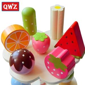Image 3 - Qwz sorvete magnético de brinquedo do bebê, simulação de brinquedos magnéticos, brinquedos de madeira para fingir, cozinha, bebê, brinquedos infantis para aniversário e natal