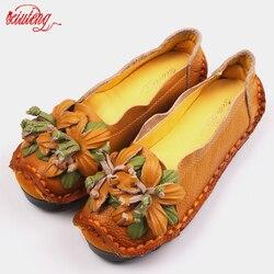 Xiuteng New National Wind Flowers Handmade Genuine Leather Shoes Women Retro Soft Bottom Flat Shoes Summer Canvas Ballet Flats 4