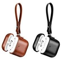 עור מקרה עבור אפל Airpods 2 Airpods 1 מגן מקרה בציר עיצוב אוזניות עור מקרה LED אור כיסוי