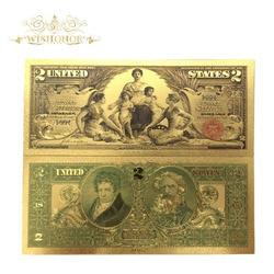 10 шт./лот, купюры в американском банкноте 1896 года, 2 долл. США, 24 к позолоченные поддельные бумажные купюры для сбора