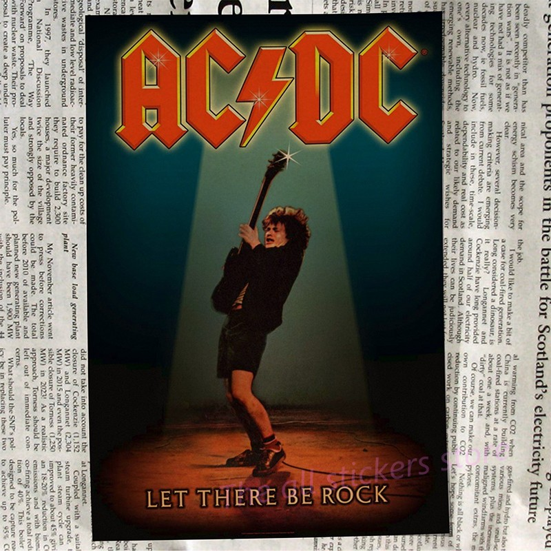 Image 2 - acdc poster .Australian/rock band ACDC/Malcolm/Angus.Kraft Paper VintagePoster Vintage  Wall Sticker/6001-in Wall Stickers from Home & Garden