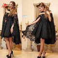 2016 New  Sexy Short Special occasion Black Lace Aramex Arabic Party Cocktail Dresses With Shawls robe de cocktail
