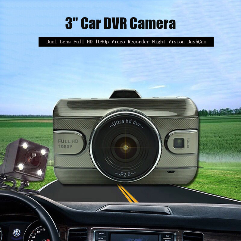 3 Dual Lens Full HD 1080P Video Recorder Car DVR Camera Dash Cam Digital Video Recorder