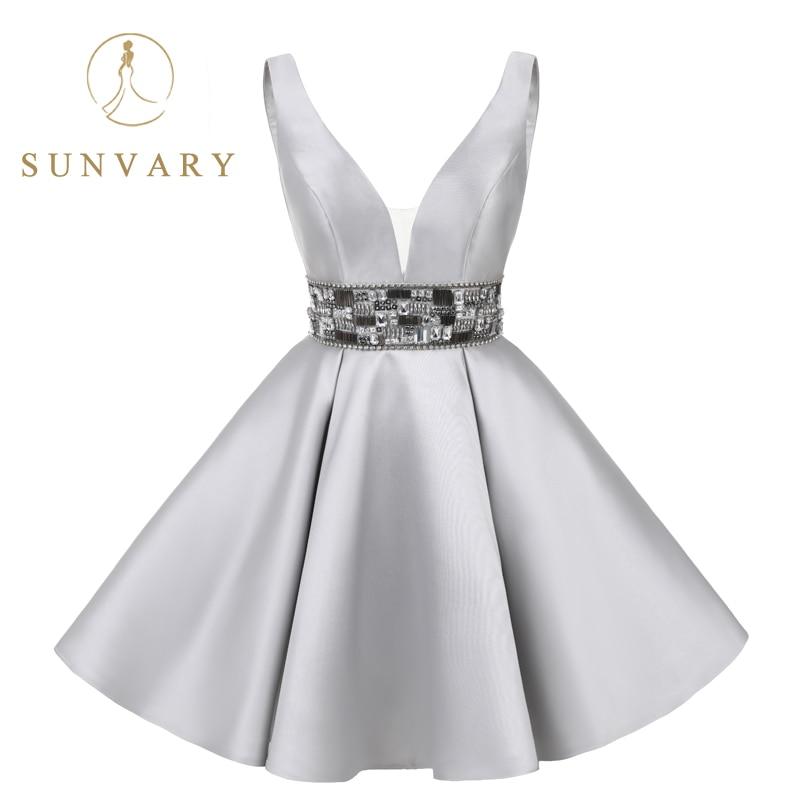Sunvary Real Image korte homecoming jurk knie lengte mini grijs - Jurken voor bijzondere gelegenheden - Foto 2