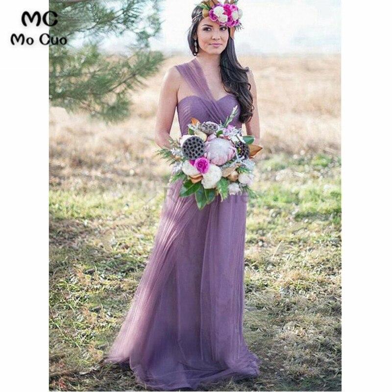 2018 One Shoulder   Bridesmaid     Dresses   Long Pleat Wedding Party   Dress   Pleat Tulle   Bridesmaid     Dresses   for women