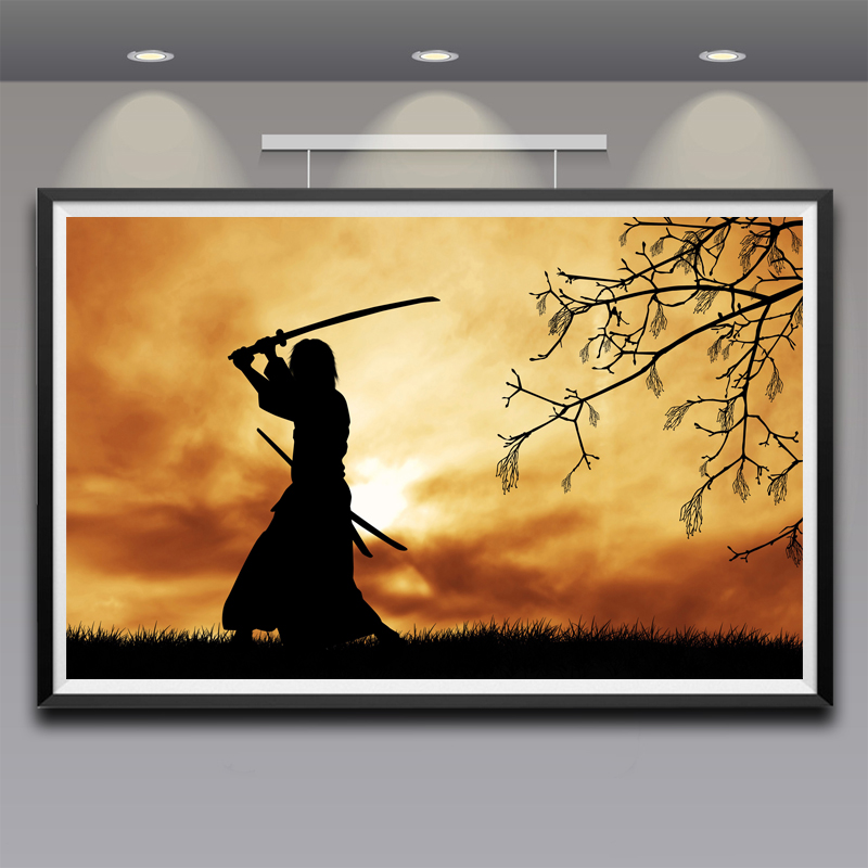 HD Artwork Samurai Japanese Clothes Katana Silhouette Branch Sword Painting  Canvas Printing On THe Wall Unframed Wall Art Poster Part 85