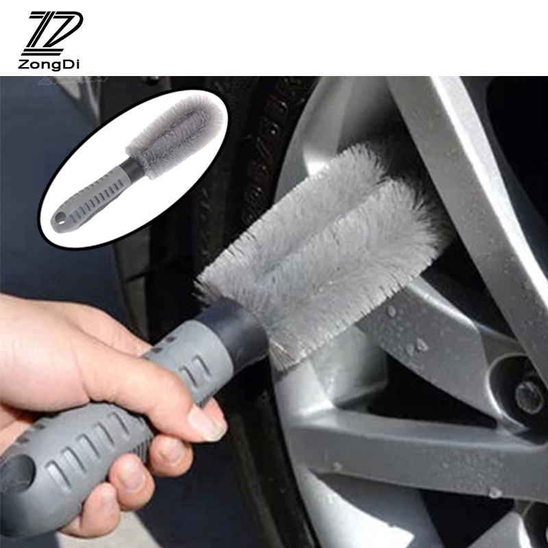ZD Car Hub Wheel Cleaning Brush Tools Anti-wear For Kia Rio 3 Ceed Toyota Corolla 2008 Avensis C-HR RAV4 Mazda 3 6 Accessories zd 2x car styling for kia rio 3 ceed toyota corolla 2008 avensis c hr rav4 mazda 3 6 air red horn alarm loudspeaker blast tone
