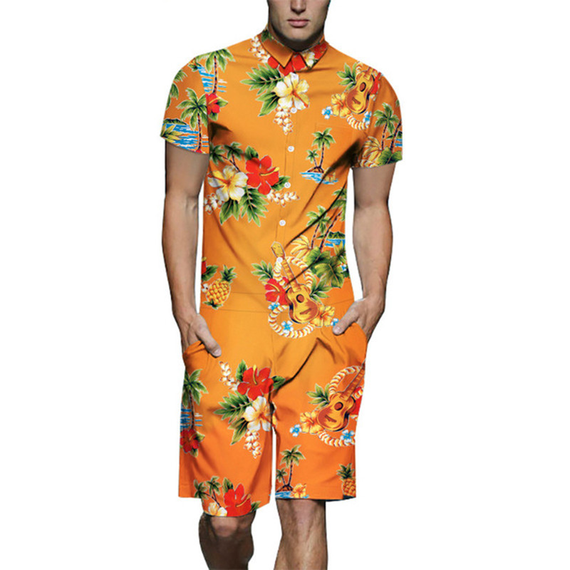 Men Rompers Summer Floral Print Jumpsuit Playsuit Overalls Holiday Hawaiian One Piece Overalls Men's Set Short Outfit Clothes