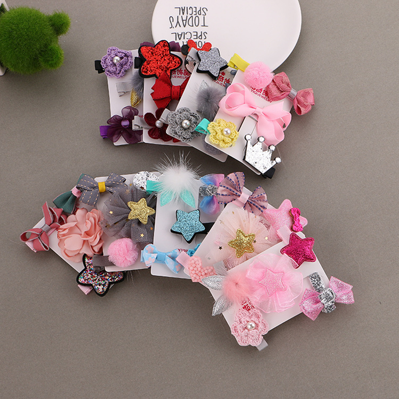 1 Set =5PCS girls flowers hair clips cartoon hairpins toddlers kids Children Animal Bow SAFE Barrettes Hair Accessories   Headwear