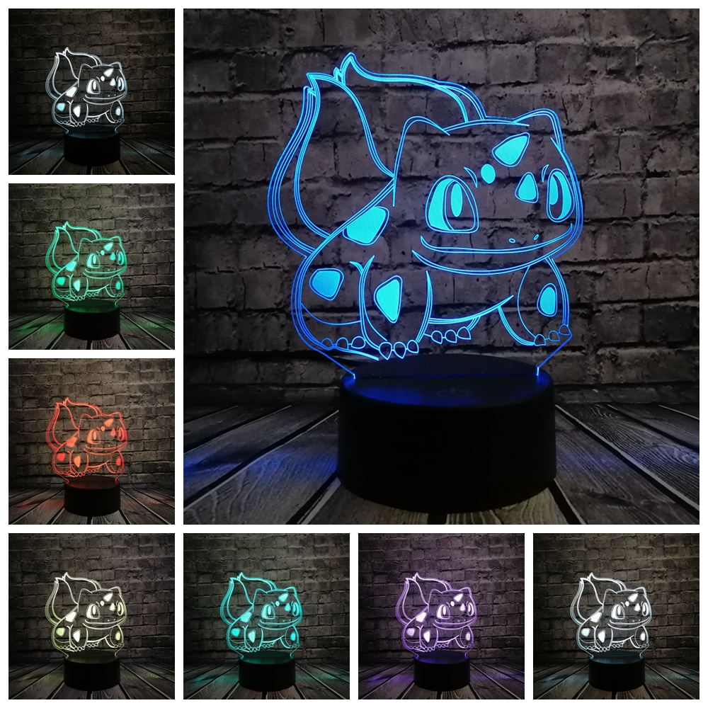 Animal Frog Seeds 3D Cartoon USB Lamp Pokeball Bulbasaur Pokemon Go Game LED Night Light Visual Illusion Table Holiday Kid Toy