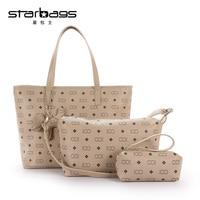 STARBAGS brand 3 sets Printed handbag women large shoulder bag High quality pu leather tote bag+small crossbody bag+coin purse