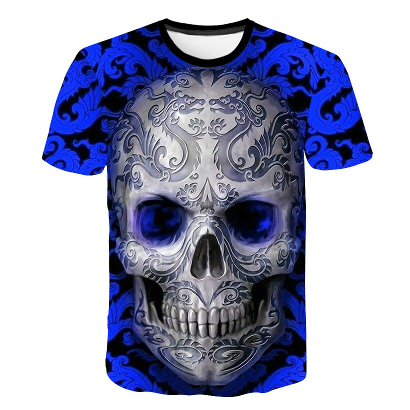 2018 New Men T Shirts Fashion Blue Skull Design Short Sleeve Casual Tops Skull Printed T-Shirt Cool Tee