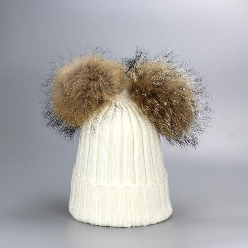 Bonnet tricoté en Laine & Coton avec deux Pompons
