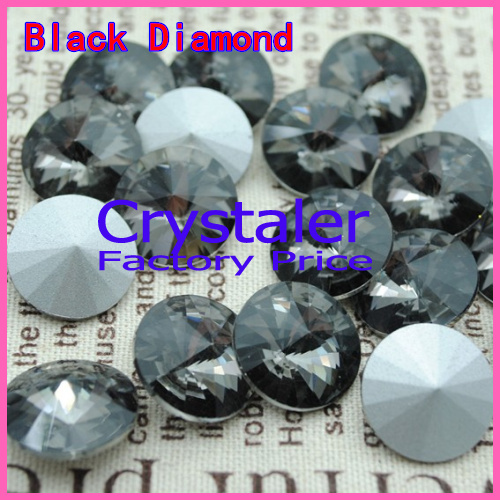 100pcs/lot Black Diamond COLOR 8MM 10MM 12MM 14mm 16mm 18mm 20mm Chinese Top Quality Round Fancy Stone Crystal Rivoli Beads