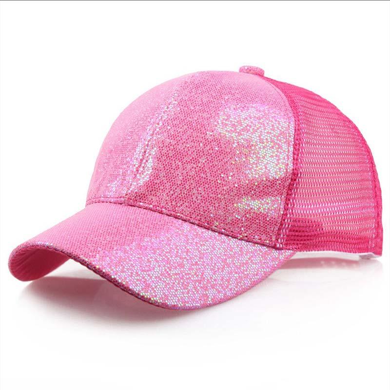 Женская бейсбольная кепка с хвостиком для девочек, летняя блестящая Кепка с блестящим блеском,, летние модные уличные спортивные солнцезащитные очки, головные уборы - Цвет: hot pink