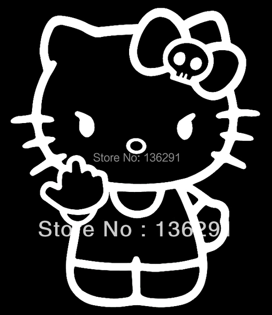 d70688be4 DIY Hello Kitty Middle Finger Skull Bow Flipping Off Car Vinyl Window Decal  Sticker
