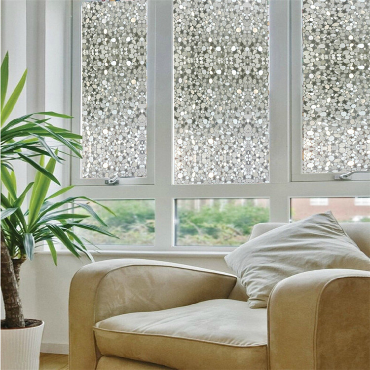 Opaque Privacy Decorative Glass Window Film Home Decor Static Self Adhesive Window Sticker Cobblestone Pebble
