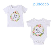 Newborn Toddler Infant Baby Kids Girl Sister Match Clothes Jumpsuit Romper Outfits T Shirt 0-18M for little sis 2-7T for big sis