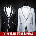Envío gratis! 2015 versión coreana del hombre negro vestido con incrustaciones de plata lado maestro de ceremonias de acogida nuevos trajes trajes padrinos de boda / sl