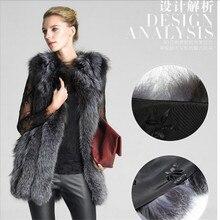 Silver Fox Vest Leather High Quality Women Fur Vest Autumn Femle Fur Vest Winter Warm Sleeveless Outwear Coat A2044
