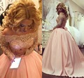 Árabe dubai plus size balón vestido vestido de fiesta vestidos de manga larga de cristal apliques satin blush pink sparkly vestidos de noche formal dress