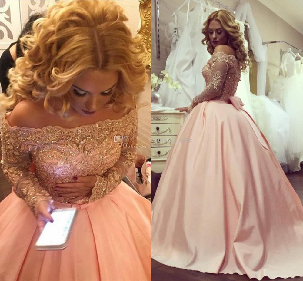 Arabic Dubai Plus Size Ball Gown Prom Dresses Long Sleeves