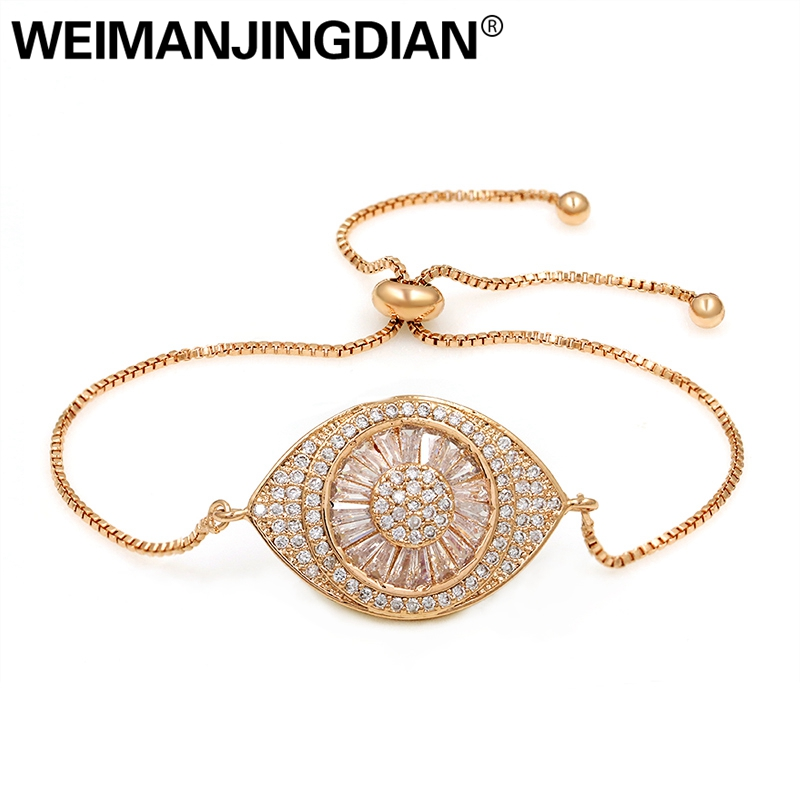 WEIMANJINGDIAN Sparkling Cubic Zirconia Crystal Evil Eye Adjustable CZ Zircon Bracelets for Women in Rose Gold or Silver Colors silver colored plated sterling silver cubic zirconia cz hamsa hand evil eye pendant 16 2 extender n1312 01