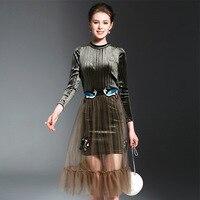 Kadife Elbise Kadınlar Vintage Çiçek Nakış Örgü Elbiseler 2 Parça Zarif Çalışma Elbise Yeni Moda Stil Parti Elbiseler NS13
