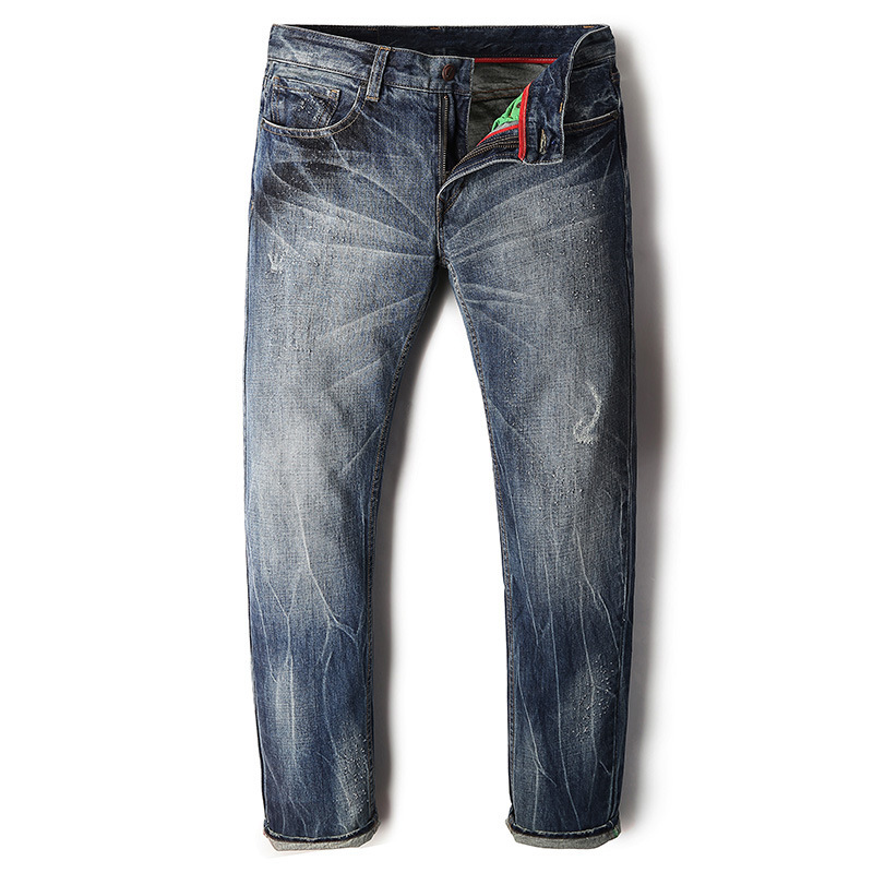 2017 New Jeans men denim Trousers Male Pants Brand Fashion long Dark Blue  Casual Elasticity Cotton washing vintage cowboys women girls casual vintage wash straight leg denim overall suspender jean trousers pants dark blue