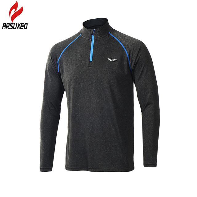 ARSUXEO 2017 New Men's Tops Long Sleeve Running Shirts Outdoor Trainning Sweat T Shirt GYM Sportswear Soccer Jersey Sports Suit