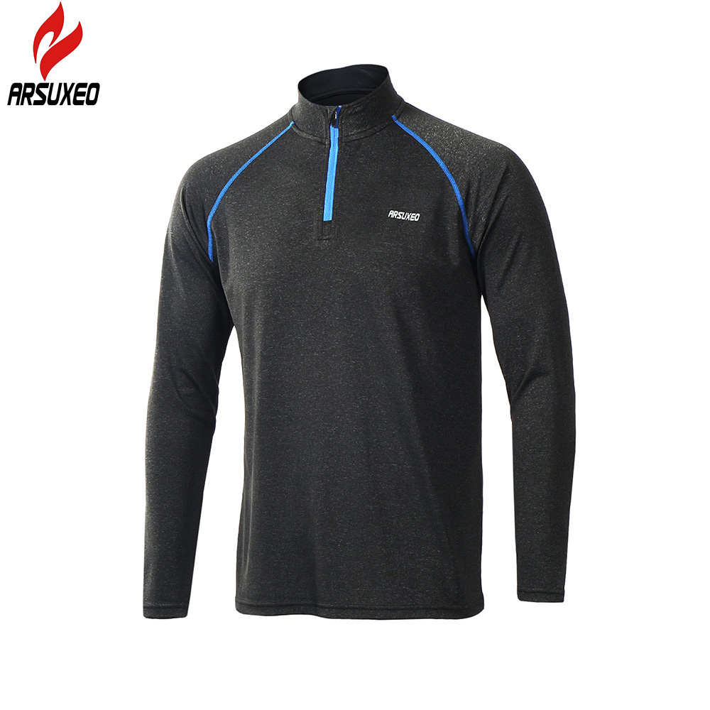 ARSUXEO 2018 New Men's Tops Long Sleeve Running Shirts Outdoor Trainning Sweat T Shirt GYM Sportswear Soccer Jersey Sports Suit