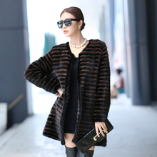 Winter Women s Genuine Real Knitted Mink Fur Coats Color Striped Lady Outerwear Garment VF0117
