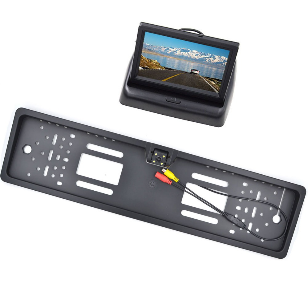 Car Rear View Mirror Monitor Parking Rearview Monitor Night Vision EU Plate Frame Reverse Camera