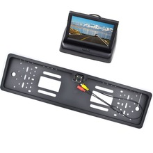 Car Rear View Mirror Monitor Parking Rearview Monitor +Night Vision EU Plate Frame Reverse Camera