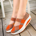 New 2016 Spring Summer Hand Knit Woven Wedges Shoes for Women Breathable Mary Jane Shoes Woman Light Walking Footwear