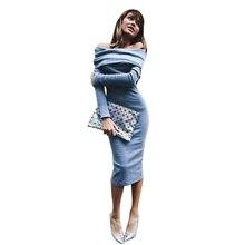 Fashion Lady Langarm Schulterfrei Party Cocktail Pullover Kleid Schlank Bleistift LS2