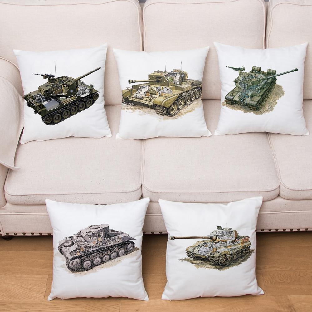 Cartoon Military Tank Car Pattern Cushion Cover Short Plush Pillow Covers 45*45cm Pillows Case Home Decoration Pillowcase