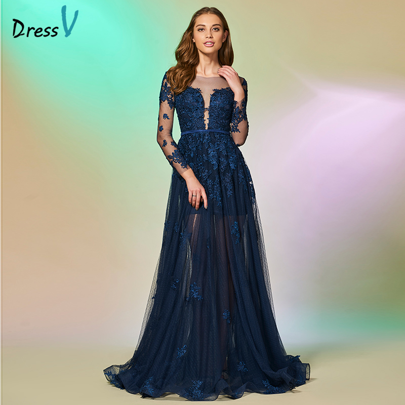 Dressv dark navy long   prom     dress   scoop neck a line long sleeves button appliques evening party gown   prom     dresses   customize