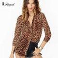 Chiffon Leopardo selvagem Mulheres Casuais Camisas de Manga Longa Camisa Blusa Chiffon Feminino Blusa Tops Blusas Femininas de Alta Qualidade