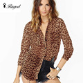 Leopardo salvaje de La Gasa de Las Mujeres Camisas Casuales de Manga Larga Blusa Blusas Femininas Camisa Femenina Blusa de La Gasa Tops de Alta Calidad