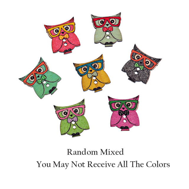 2x50PCs Random Mixed 2 Hole Wooden Buttons Owl Pattern Fit Sewing ...