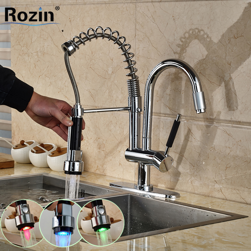 RGB LED Light Spring Pull Down Kitchen Faucet Single Handle Dual Spout Hands Free Sprayer Kitchen Mixer Taps in Chrome free shipping high quality chrome brass kitchen faucet single handle sink mixer tap pull put sprayer swivel spout faucet