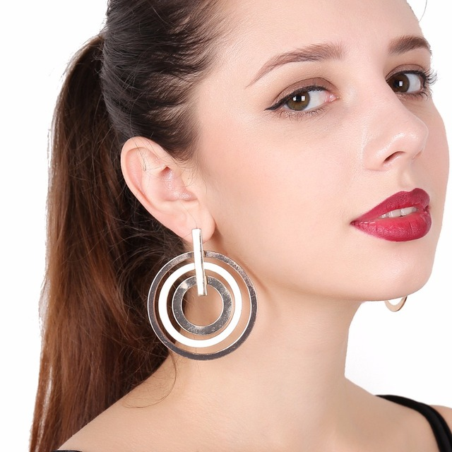 Concentric Circles Large Hoop Earrings For Women Circle Boucles D Oreilles Loop