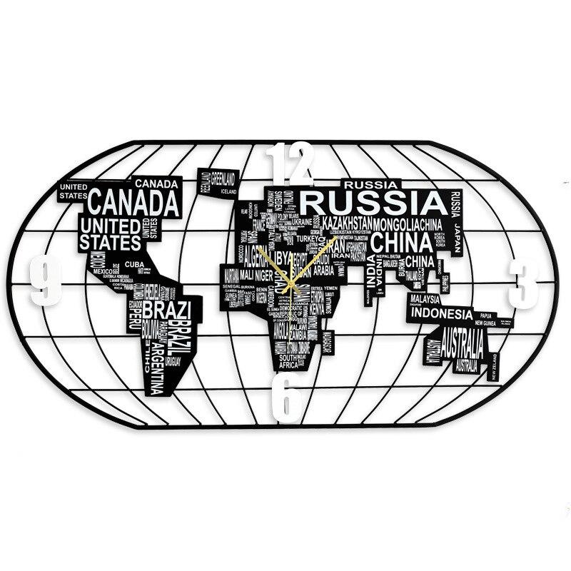 Horloge murale carte du monde ovale montre murale Design moderne nordique horloge en bois + fer horloge murale salon/chambre horloges murales numériques muettes